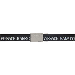 Versace Jeans Couture Black Leather Logo Belt ED8YWAF32 E71990