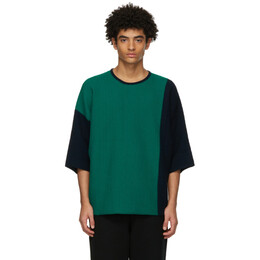 Homme Plisse Issey Miyake Green Combi Knit T-Shirt HP17KN001