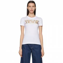 Versace Jeans Couture White Institutional Logo T-Shirt EB2HWA7TBE30319