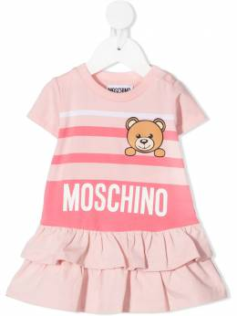 Moschino Kids платье мини Teddy Bear в горизонтальную полоску MBV06YLBA10