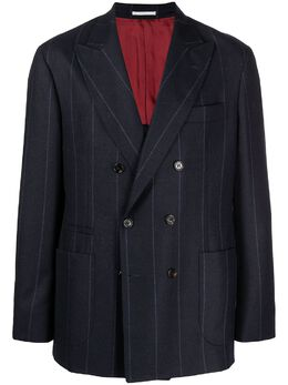 Brunello Cucinelli двубортный пиджак в полоску MN4437BBD