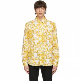 Versace Jeans Couture White and Gold Logo Baroque Print Shirt EB1GWA6S0 ES0152