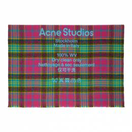 Acne Studios Pink and Blue Wool Tartan Check Scarf CA0082-