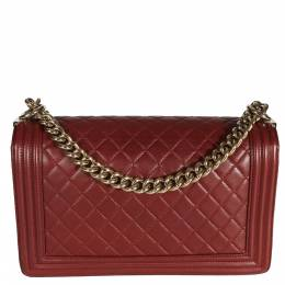 Chanel Burgundy Quilted Lambskin Leather Boy Medium Bag 381632