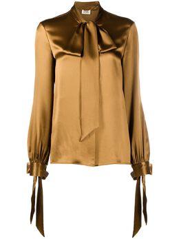 Saint Laurent блузка с бантом и длинными рукавами 640877Y001W