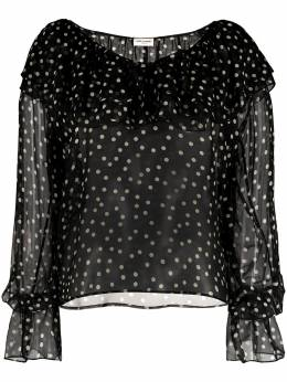 Saint Laurent блузка в горох с оборками 646002Y5C42