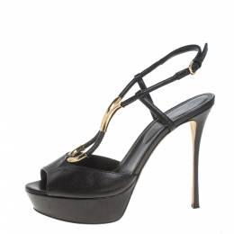Sergio Rossi Black Leather Ankle Strap Platform Sandals Size 37 383899