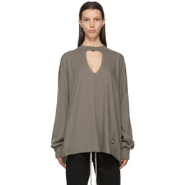 Rick Owens DRKSHDW Taupe Eclipse Long Sleeve T-Shirt DS21S2106 RN