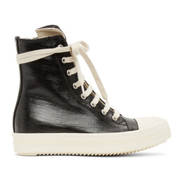 Rick Owens DRKSHDW Black Lacquered High Sneakers DS21S2800 HDLQP