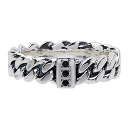 Tom Wood Silver Spinel Slim Chain Ring R465ABSP01S925