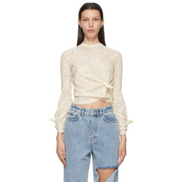 Rokh Off-White Lace Knot Twisted Long Sleeve T-Shirt R0CA120