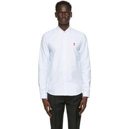 Ami Alexandre Mattiussi White and Blue Striped Ami De Coeur Shirt BFHC013.403