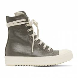 Rick Owens DRKSHDW Grey Lacquered High Sneakers DS21S2800 HDLQP