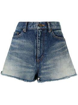 Saint Laurent джинсовые шорты с эффектом потертости 644090Y958G