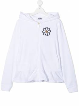 Moschino Kids TEEN flower embroidery zip-up hoodie HDF031LDA00