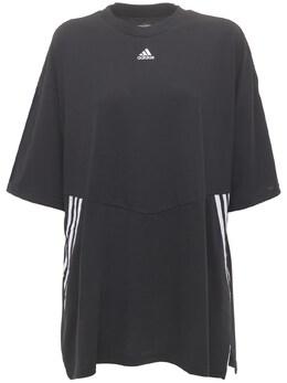 Хлопковая Футболка Оверсайз Adidas Originals 73IE87018-QkxBQ0tXSElURQ2