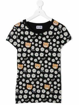 Moschino Kids футболка с цветочным принтом и круглым вырезом HJM02OLBB57