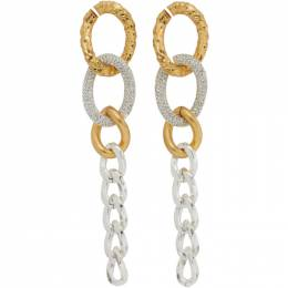 System Gold and Silver Metal Mix Chain Earrings SY2B1-AJWT12W