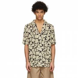 Nanushka Black and Beige Venci Short Sleeve Shirt NM21RSSH00915