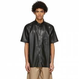 Nanushka Black Vegan Leather Adam Short Sleeve Shirt NM21RSSH00199