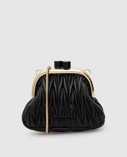 Черная кожаная сумка Miu Miu 2300006599750