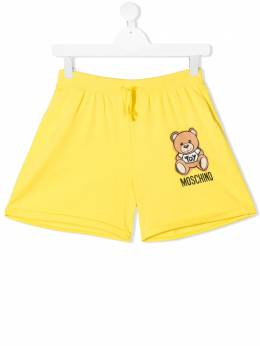 Moschino Kids TEEN logo bear print shorts HDQ007LDA13