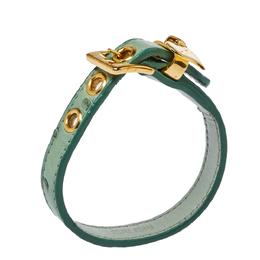 Miu Miu Green Ostrich Leather Heart Charm Bracelet 383047