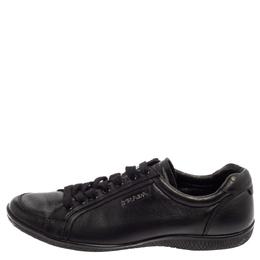 Prada Sport Black Leather Low Top Sneakers Size 39 384504