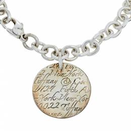 Tiffany & Co. Notes Round Tag Charm Sterling Silver Bracelet 384264