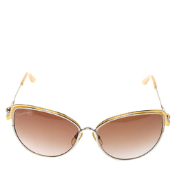 Cartier Two Tone / Brown Gradient CT0089S Trinity de Cartier Cateye Sunglasses 384866