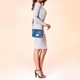 Miu Miu Two Tone Blue Madras Leather Pushlock Flap Shoulder Bag 384449