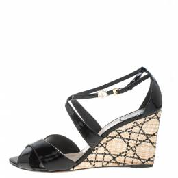 Dior Black Patent Leather Criss Cross Raffia Wedge Ankle Strap Sandals Size 40.5 384686