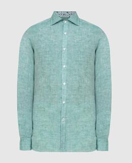 Зеленая рубашка из льна Isaia 2300006580246