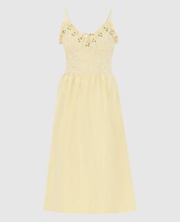 Желтое платье из шелка Miu Miu 2300006599712
