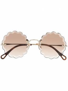 Chloe Eyewear солнцезащитные очки в круглой оправе с фестонами CH0047S