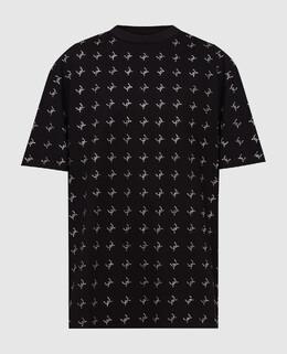 Черная футболка с кристаллами David Koma 2300006604164