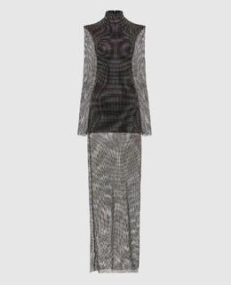 Черное платье с кристаллами David Koma 2300006603556