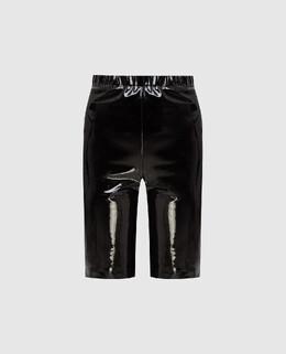 Черные кожаные шорты David Koma 2300006604188