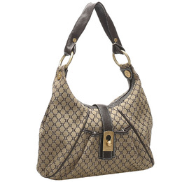 Celine Grey Blue Macadam Canvas Shoulder Bag 382521