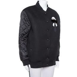 Fendi Karlito Black Logo Applique Detail Quilted Down Bomber Jacket M 384949