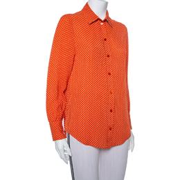 Joseph Orange Printed Silk Long Sleeve Button Front Shirt S 384956
