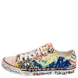 Vetements Multicolor Graffiti Canvas Low Top Lace Up Sneakers Size 36 385885