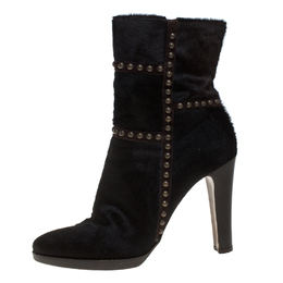 Le Silla Brown Calf Hair Studded Studded Ankle Boots Size 37 386034
