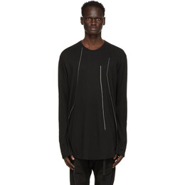 Julius Black Embroidered Long Sleeve T-Shirt 727CUM9-S