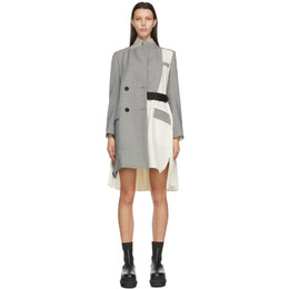 Sacai Grey and Off-White Suiting Coat 21-05391