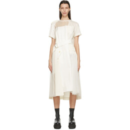 Sacai Off-White Sheer Neck Belted Dress 21-05395