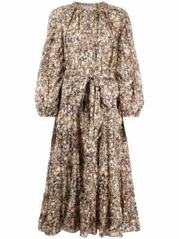 Ulla Johnson ярусное платье миди Anzu с принтом P21010146