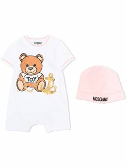 Moschino Kids комплект из ромпера и шапки бини Toy Bear MDY00MLBA00