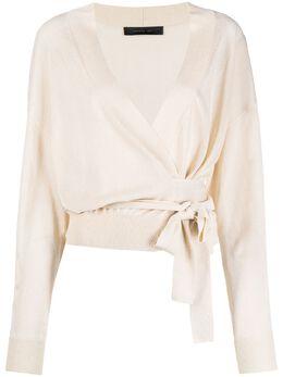 Federica Tosi блузка с запахом и длинными рукавами FTE21MK0460MAGLIE