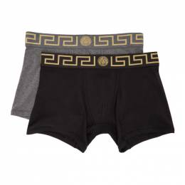 Versace Underwear Two-Pack Black and Grey Long Greca Border Boxer Briefs AU10192 A232741